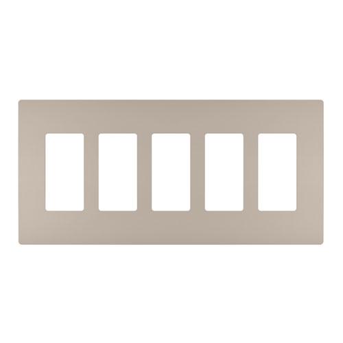 Nickel Screwless 5-Gang Wall Plate