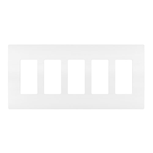 White Screwless 5-Gang Wall Plate