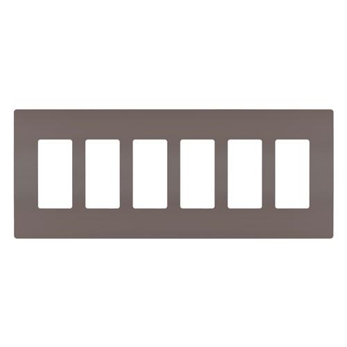 Brown Screwless 6-Gang Wall Plate
