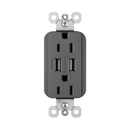 Legrand radiant Black USB Chargers with Duplex 15A Tamper-Resistant Outlets