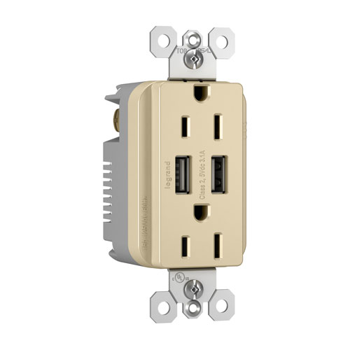Legrand radiant Ivory USB Chargers with Duplex 15A Tamper-Resistant Outlets