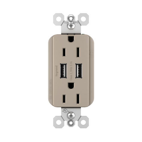 Legrand radiant Nickel USB Chargers with Duplex 15A Tamper-Resistant Outlets