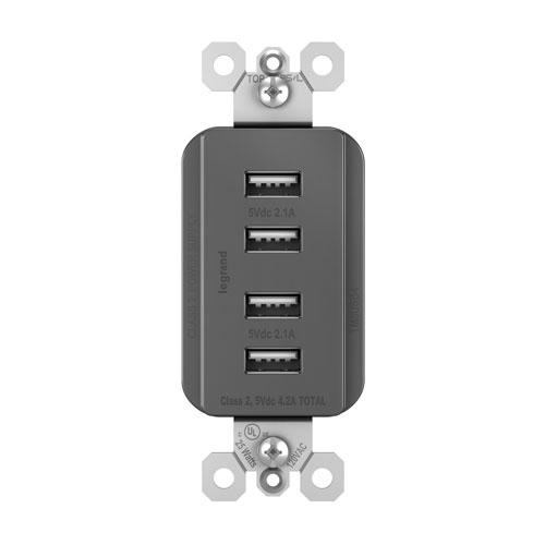 Legrand radiant Black Quad USB Charger