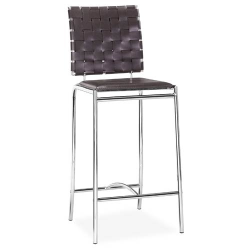 Zuo Modern Contemporary Criss Cross Espresso and Chromed Steel Counter Chair