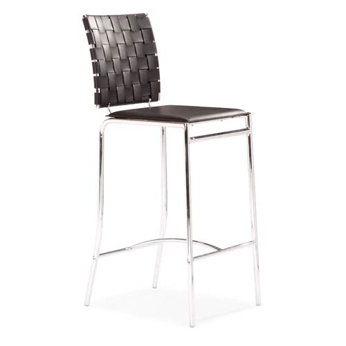 Criss Cross Black and Chromed Steel Counter Chair