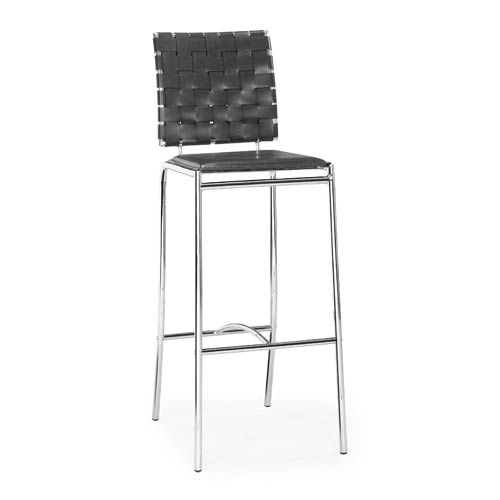 Zuo Modern Contemporary Criss Cross Black and Chromed Steel Bar Chair