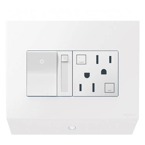 White Control Box with Paddle Dimmer and 15A GFCI