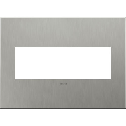 Brushed Stainless Cast Metal Steel 3-Gang Wall Plate