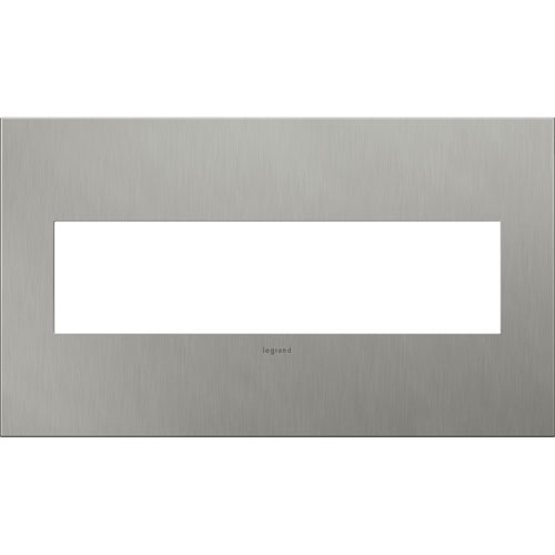 Brushed Stainless Cast Metal Steel 4-Gang Wall Plate