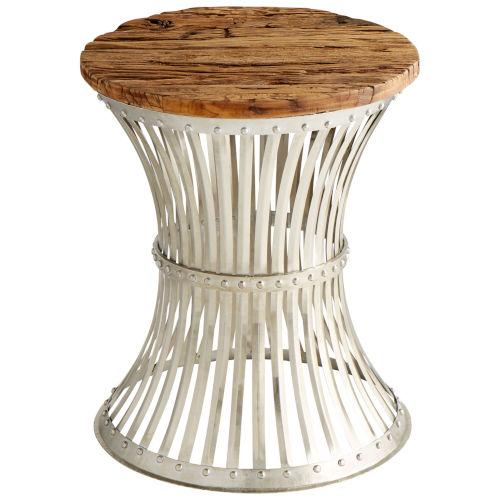 Raw Iron and Natural Wood Dalton Side Table