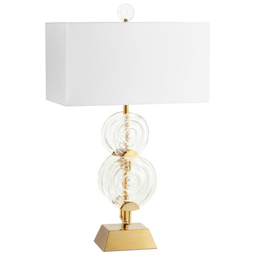 Aged Brass and Clear Discus Table Lamp