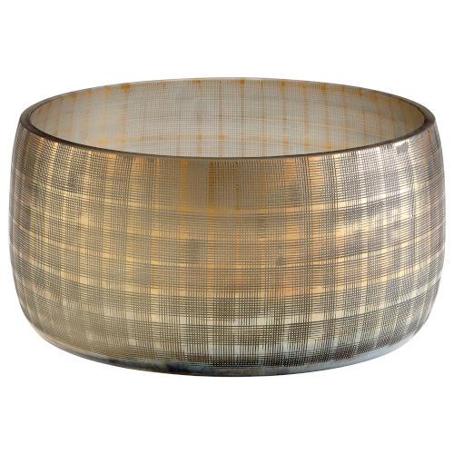 Combed Iridescent Gold 12-Inch Gradient Grid Vase