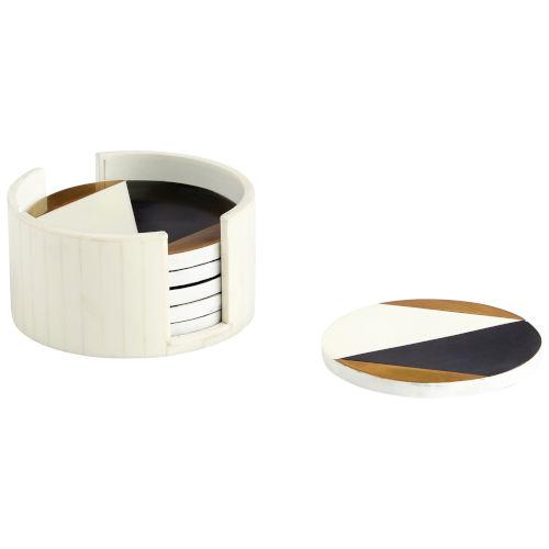 Black, Gold and White Modametric Coasters, 7 Piece