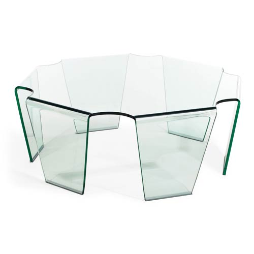 Circuit White and Tempered Glass Coffee Table
