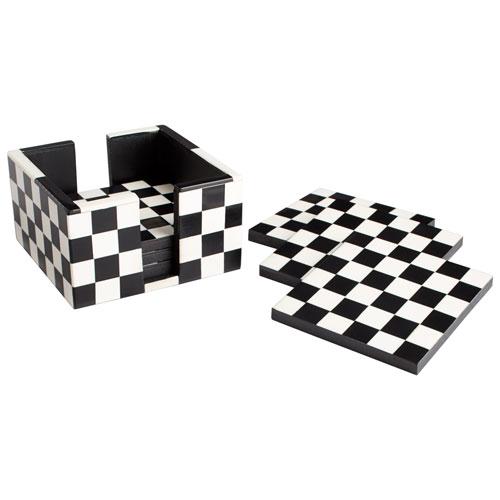 Black and White Check Mate Coasters