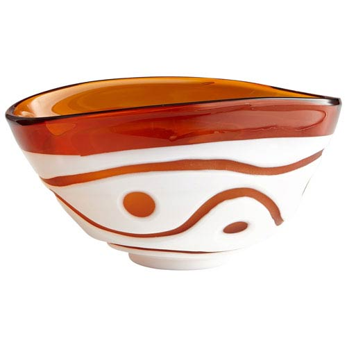 Amber and White Dotty Bowl