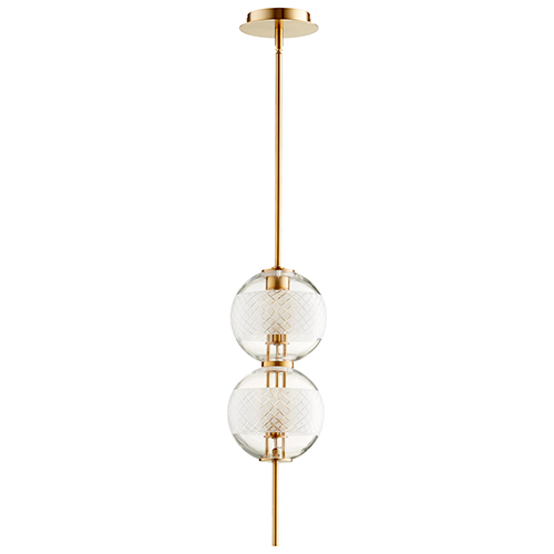 Cyan Design Peloton Aged Brass Two-Light LED Mini Pendant