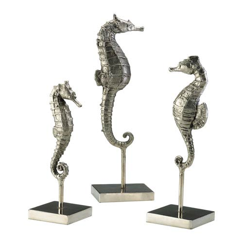 Silver Seahorse Sculpture, Set of Three