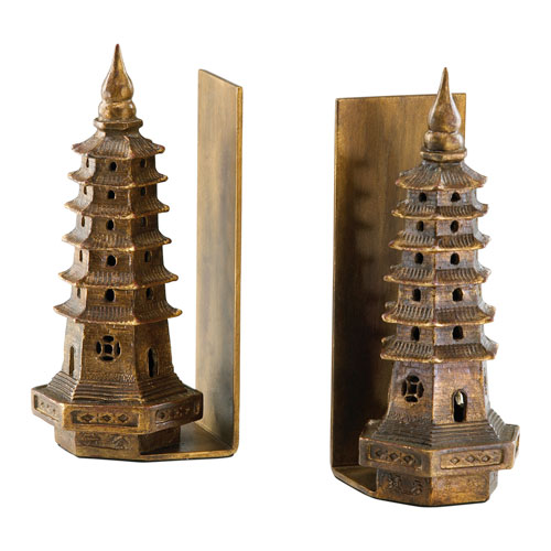 Gold Pagoda Bookend, Set of Two