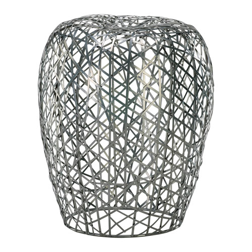 Silver Open Grid Stool