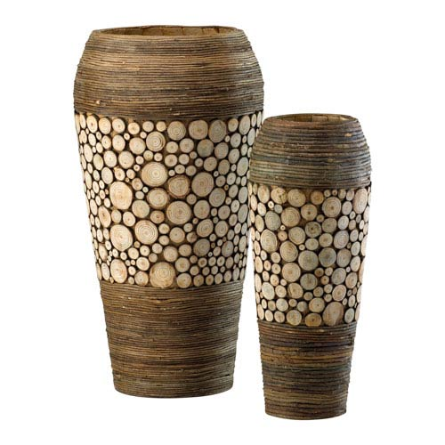 Birchwood and Walnut Slice Oblong Vases