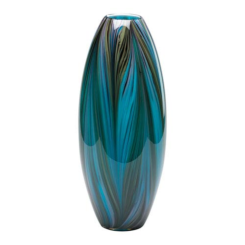 Blue Peacock Feather Vase