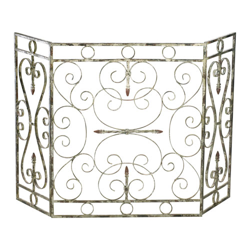 Crawford Distressed Antique White Fire Screen