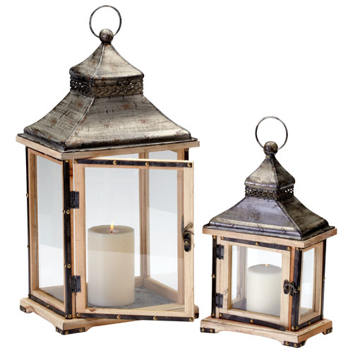 Oxford Raw Iron and Natural Wood Lanterns, Set of Two