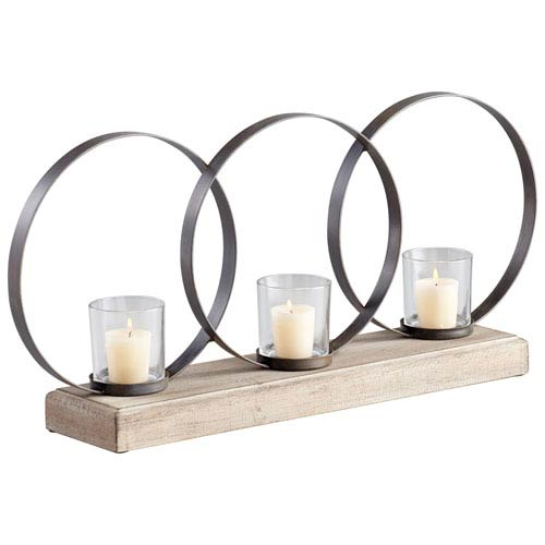 Ohhh Raw Iron and Natural Wood Three-Candle Candleholder