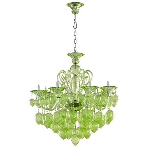Bella Vetro Green Eight-Light Chandelier