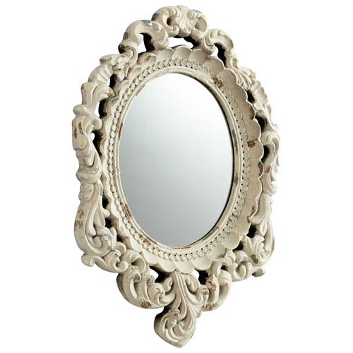 Ornate Illusions Antique White Mirror