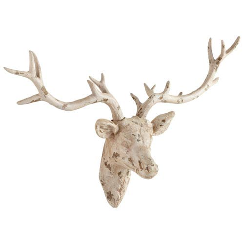 Antique French White Open Antler Wall Decor