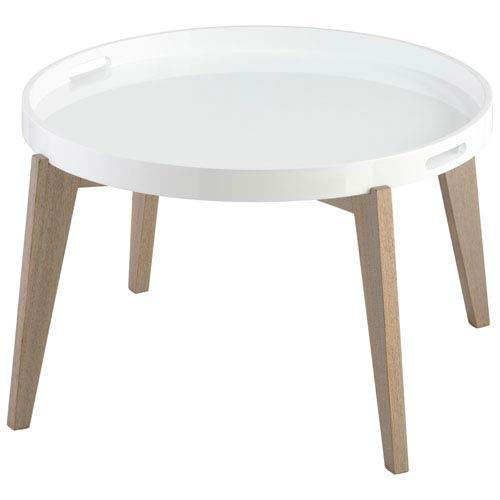 Lacquer Van Dyke White End Table