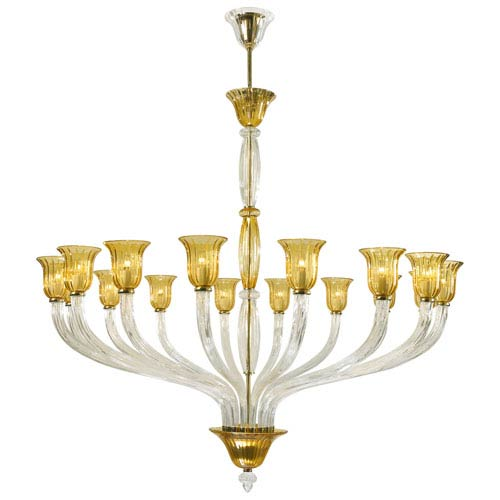 Vetrai Gold 16-Light Chandelier