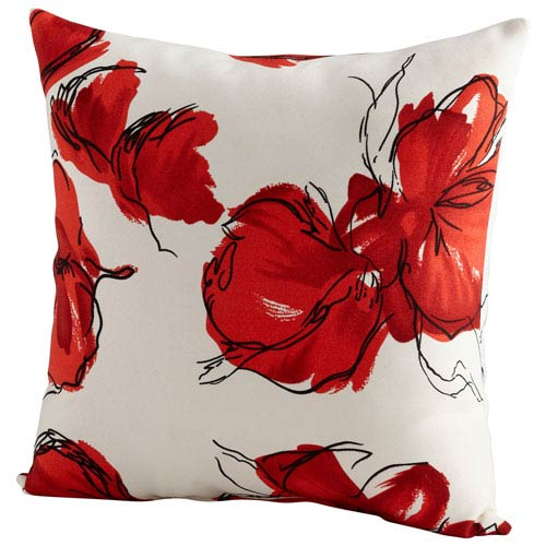 Crimson and White 22-Inch Petal Pillow
