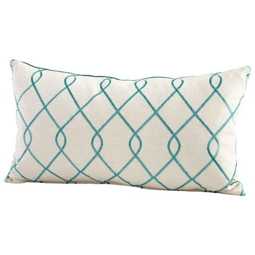Turquoise and White 14 x 24-Inch Chain Link Pillow
