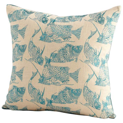 Turquoise and White Angler 18-Inch Pillow