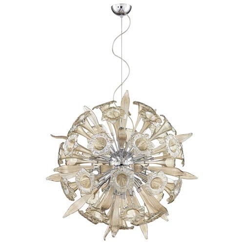Remy Chrome 16-Light Pendant with Cognac Glass
