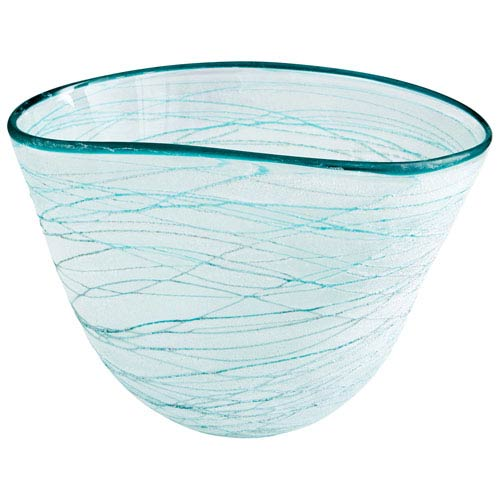 Swirly Green and White Large Bowl