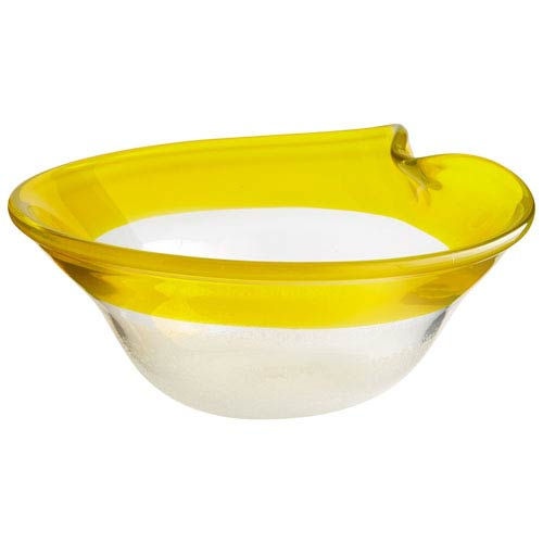 Saturna Yellow and Clear Medium Bowl
