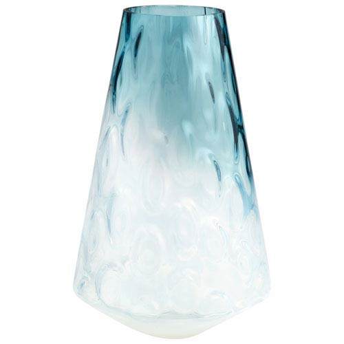 Brisk Blue and Clear Vase