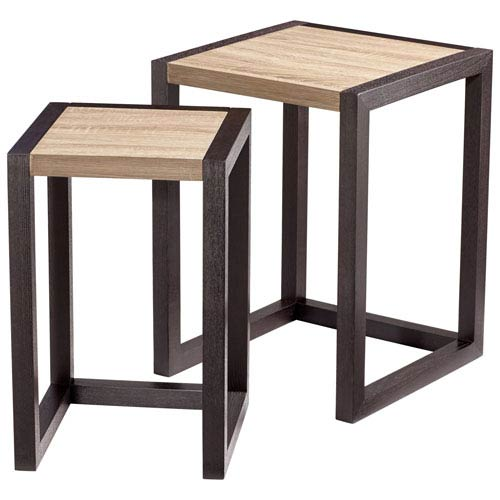 Becket Oak and Black Nesting Tables