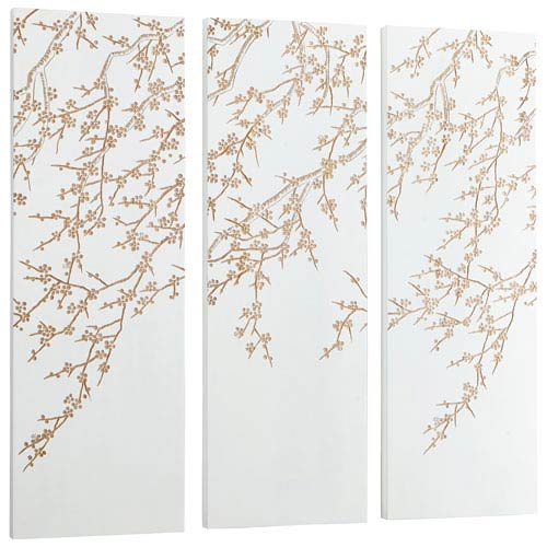 Cyan Design White and Gold Cherry Blossom Wall Art