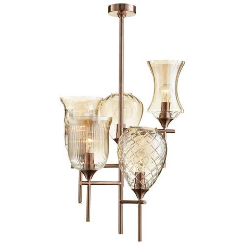 Darcey Satin Copper Five-Light Chandelier