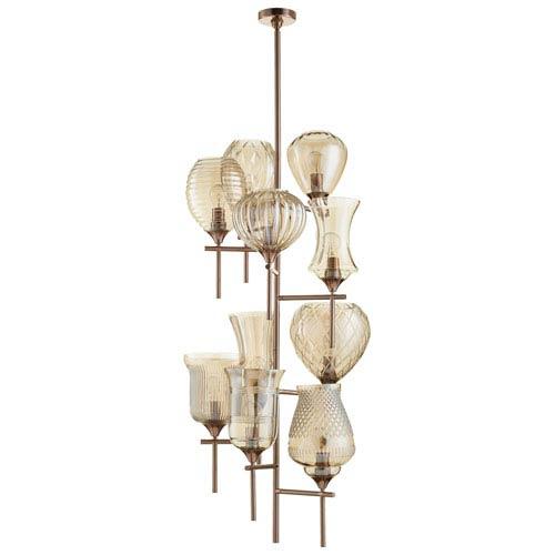 Darcey Satin Copper 10-Light Chandelier