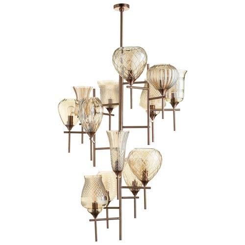 Darcey Satin Copper 13-Light Chandelier