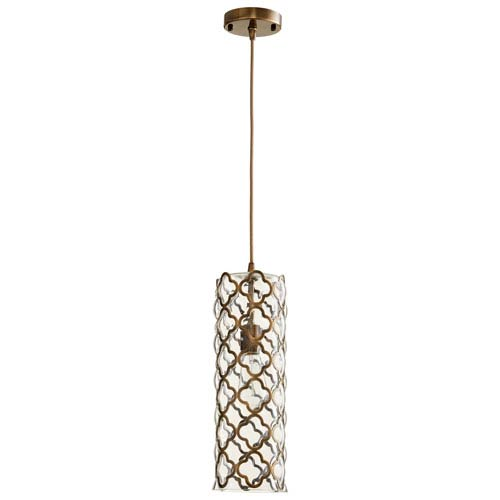 Corsica Clear and Satin Brass One-Light Pendant