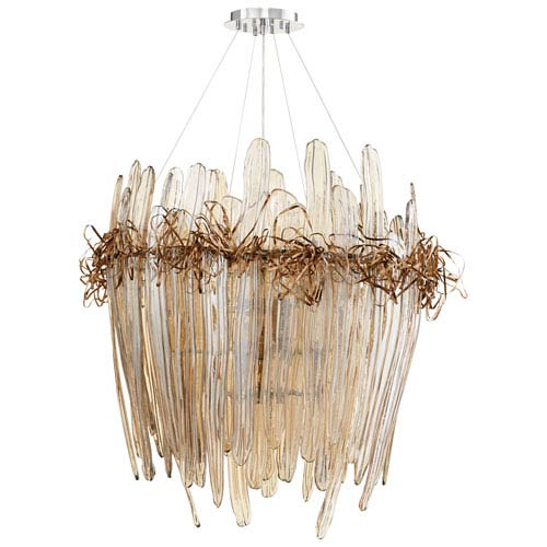 Thetis Chrome and Copper 12-Light Chandelier