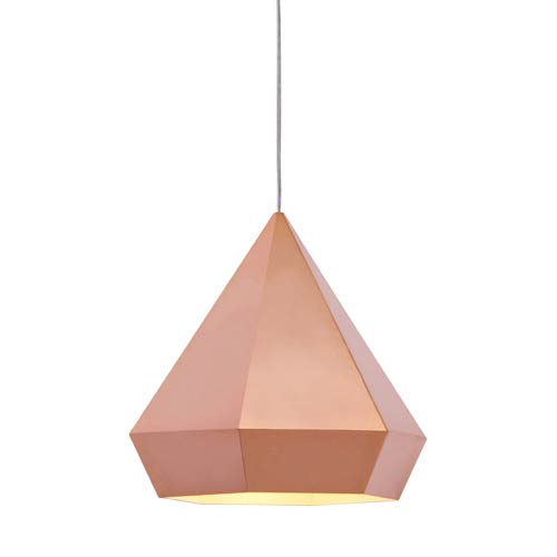 Zuo Modern Contemporary Forecast Rose Gold One Light Pendant