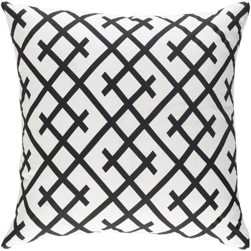 Artistic Weavers Ethiopia Kenya Black and Ivory 18 x 18 In. Pillow with Poly Fill